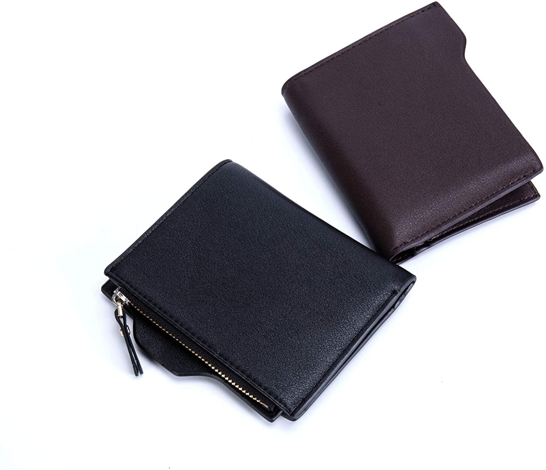 Mens Leather Bifold Wallets Pocket Coin Bag Purse Card Holder Clutch Business (brown)