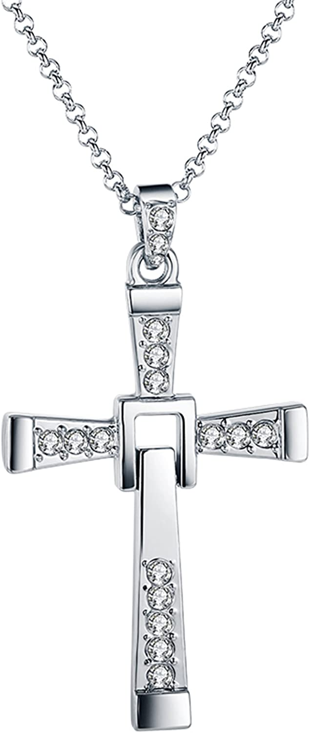 Greendou Fashion Jewelry 18K Gold/White Gold/Rose Gold Crystal Cross Pendant Necklace