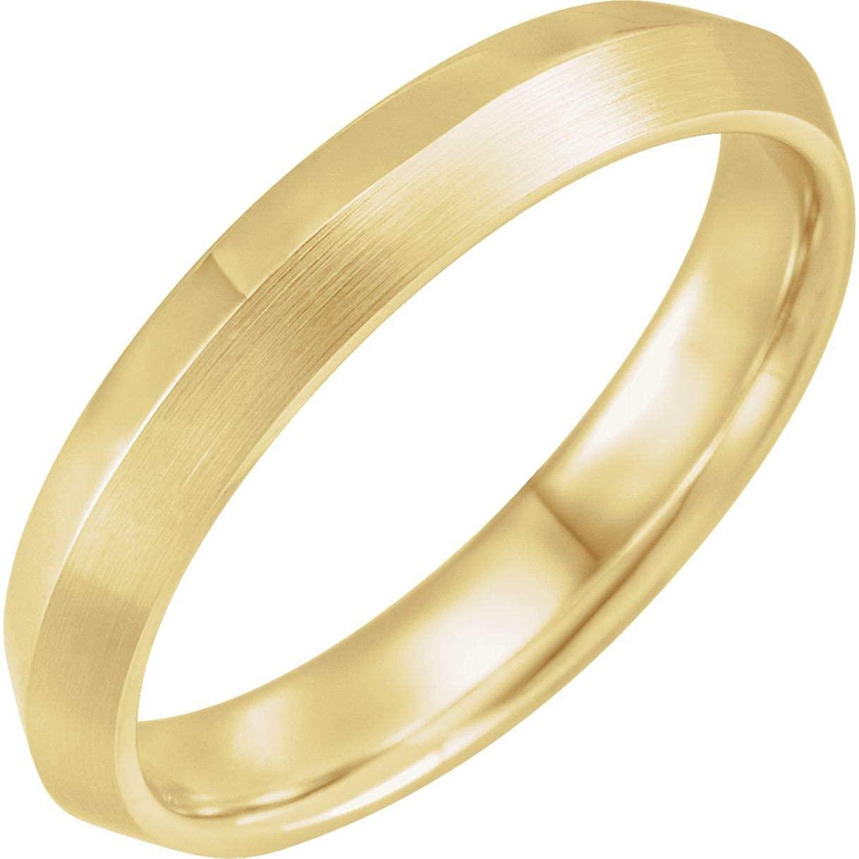 Bonyak Jewelry 14k Yellow Gold 4mm Knife-Edge Band with Satin Finish - Size 13