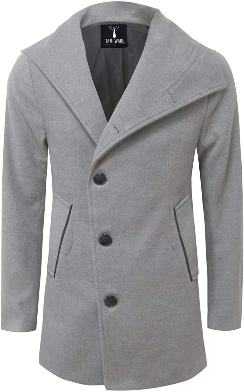 TAM WARE Mens Single Breasted Button Wool Pea Coat