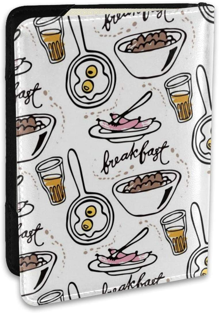 Painted Breakfast Food Leather Passport Holder Cover Case 6.5 Inch Travel Luggage Passport Wallet