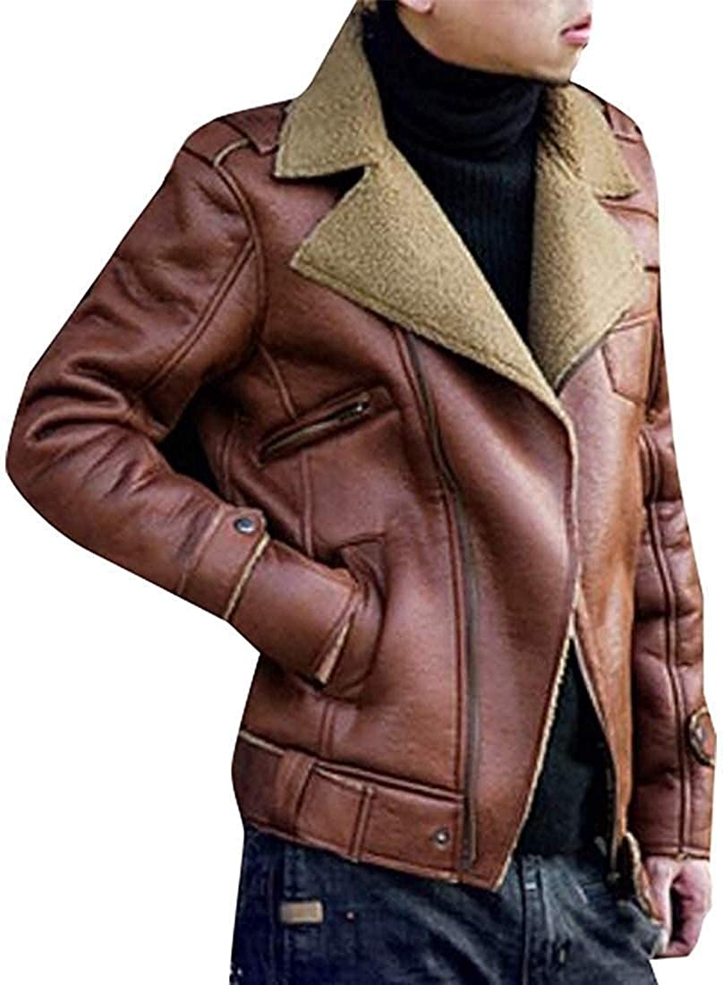 Zeious Men's Business Spread Collar Sherpa Lined Suede Leather Trucker Jacket