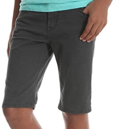 Wrangler Boys' Premium Slim Straight Short with Adjustable Waist (Smoke Dark Blue, 14, 28