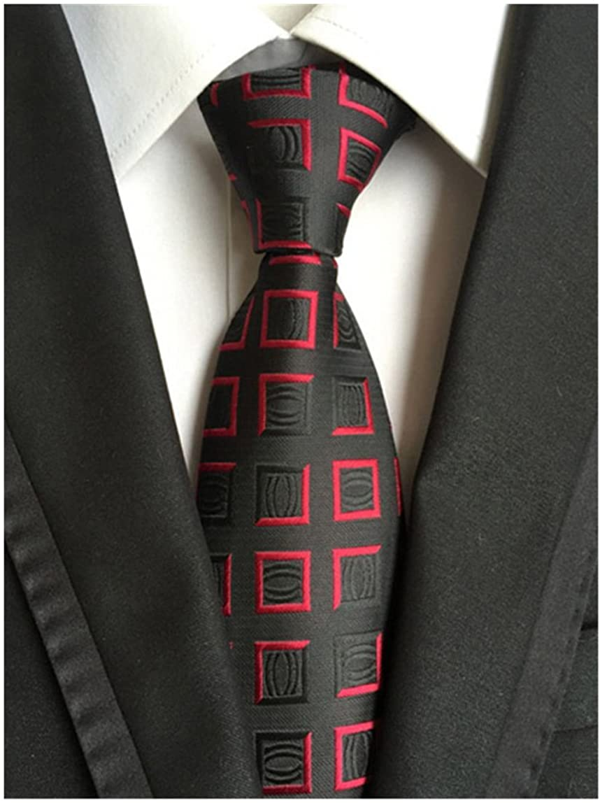 Elfeves Mens Classic Geometry Jacquard Woven Ties Formal Party Suit Neckties