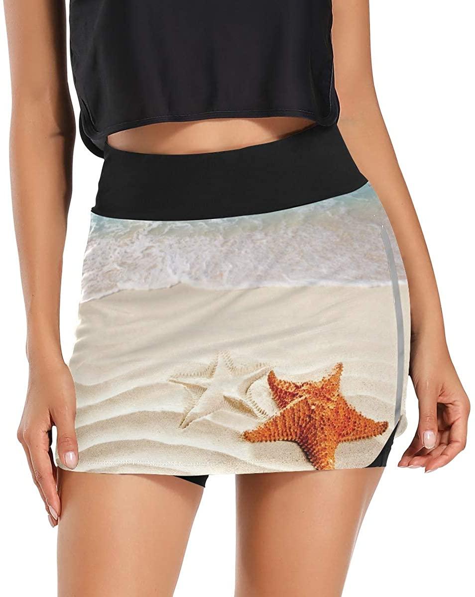 Ladninag Starfish and Women's Tennis Golf Skorts Skirts with Pockets Inner Biker Shorts Workout
