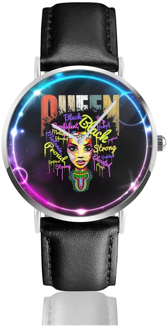 Sabibiegenwo African Queen - Educated Black Girl Black Lives Matter Stainless Steel and Leather Casual Quartz Watch Unisex