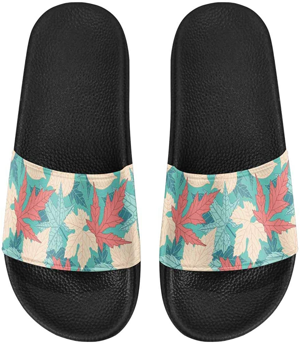 INTERESTPRINT Leaves on Blue Background Men's Lightweight Breathable Casual Slippers Shoes