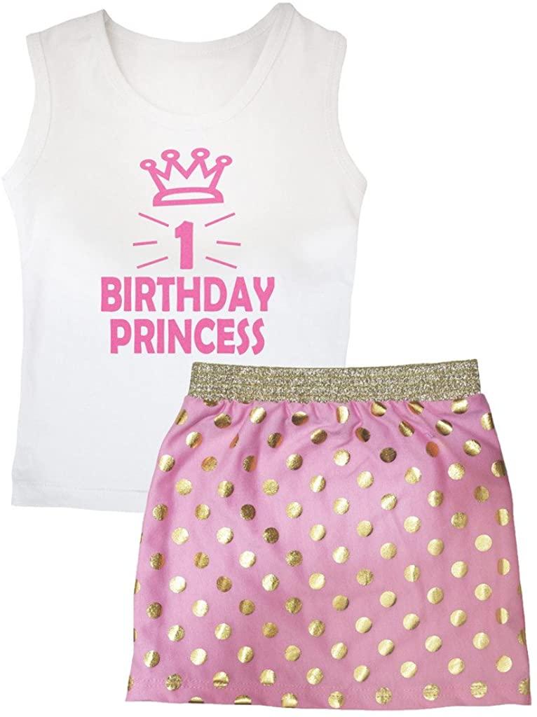 Petitebella 1st Birthday Princess White Vest Gold Polka Dots Pink Skirt Set 1-8y