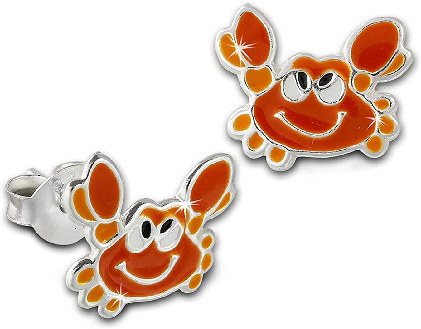 Tee-Wee children stud earrings crab with orange enamel, 925 Sterling Silver SDO8136O