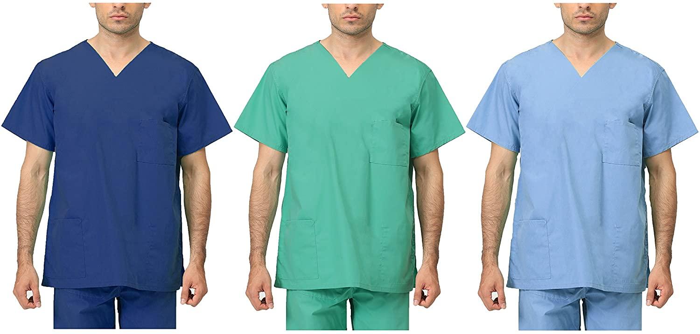Unisex Medical Apparel Doctor Nurse Reversible Uniform Scrubs Top XS-3XL (Small, Green Top)