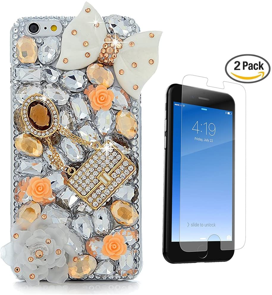 STENES iPhone 7 Case - [Luxurious Series] 3D Handmade Crystal Sparkle Bling Case With Screen Protector & Retro Bowknot Anti Dust Plug - Pretty Rose Big Bowknot Crystal Girls Bag/Gold&White