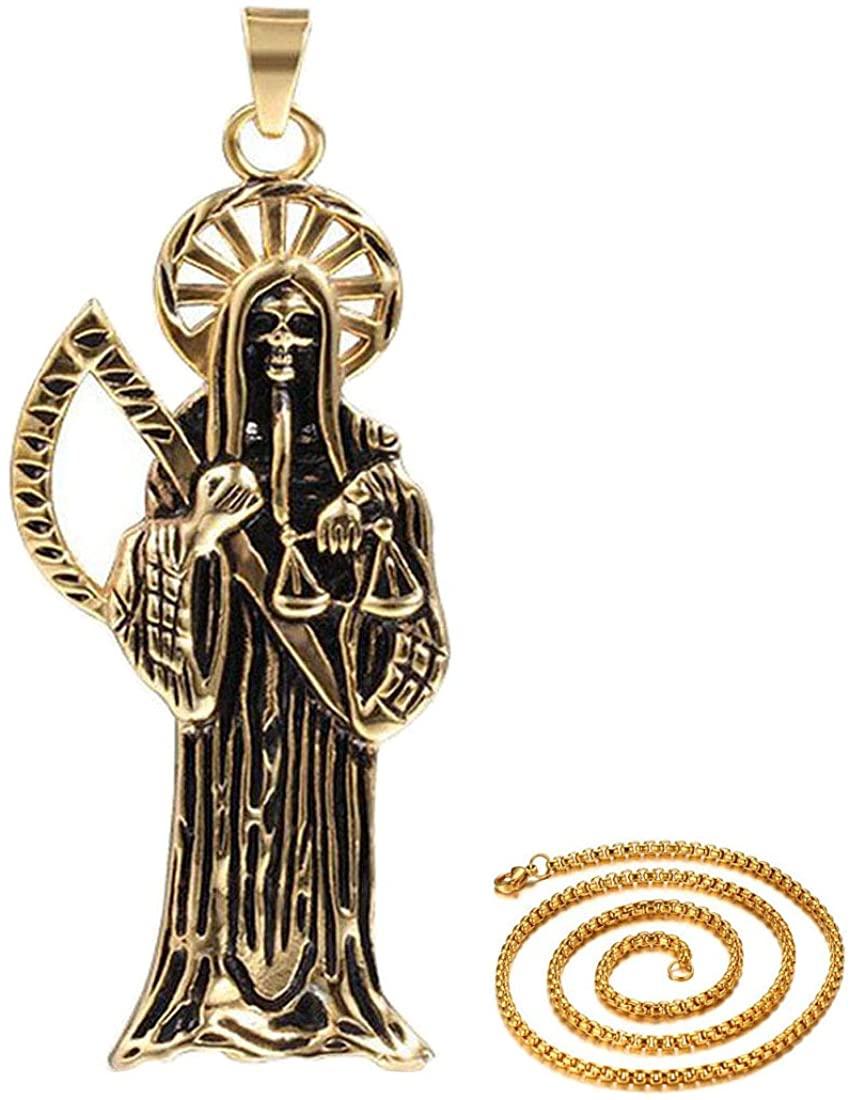 DIB Stainless Steel Gothic Ghost Vintage Retro Punk Rock Biker Grim Reaper Scythe Death Skeleton Skull Sickle Pendant Necklace, Gold Chain 24