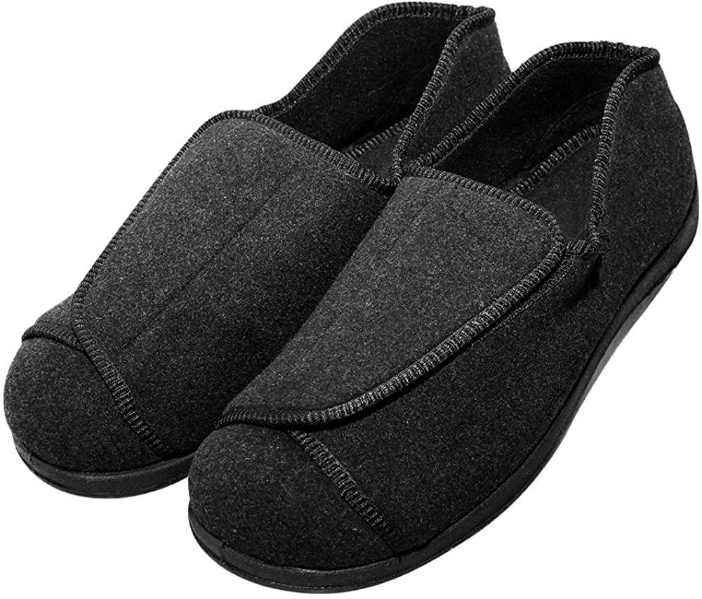 Cozy Ankle Men's Extra Wide Slippers Adjustable Diabetic & Edema Loafers - Swollen Feet