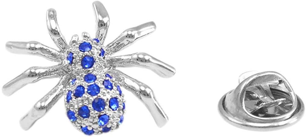 Vcufflinks Blue Crystal Spider Lapel Pin Brooch