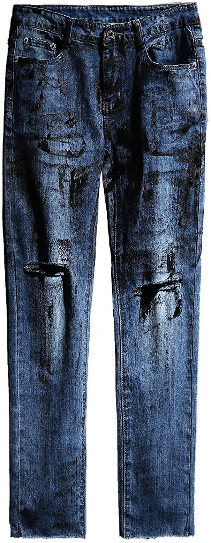 ByTheR Mens Custom Rough Painting Cut Knife Denim Jeans Punk Gothic Fashion