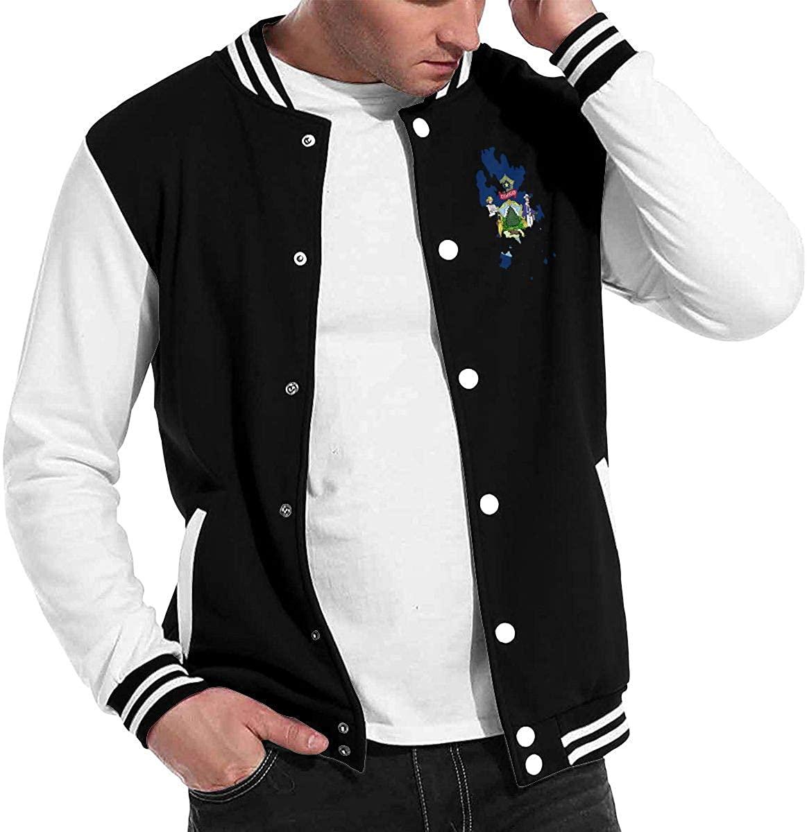 Maine State Art Baseball Jacket Uniform, Men Women Varsity Premium Jacket Sweater Coat