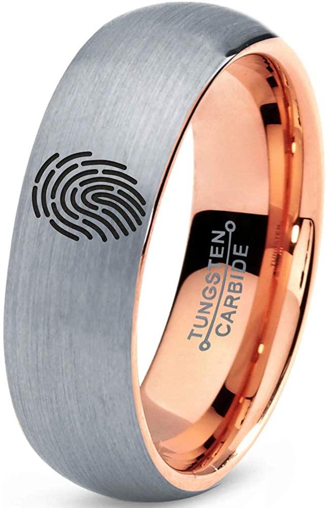 Security Fingerprint Scan Ring - Tungsten Band 8mm - Men - Women - 18k Rose Gold Step Bevel Edge - Yellow - Grey - Blue - Black - Brushed - Polished - Wedding - Gift Dome Flat