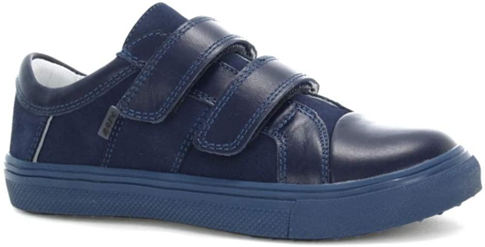Bartek Boys Leather Shoes Double Velcro Sneakers 15607/OKA Navy (Little Kid/Big Kid)