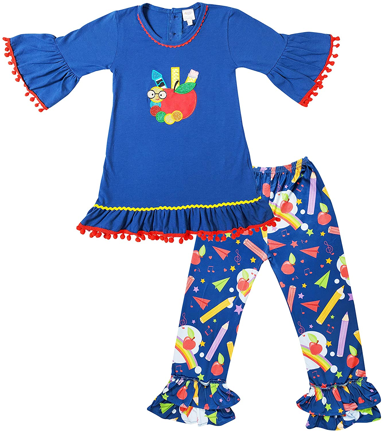 Angeline Boutique Toddler Little Girls Back to School Outfits - Tunic Top with Capris or Pants or Skirt