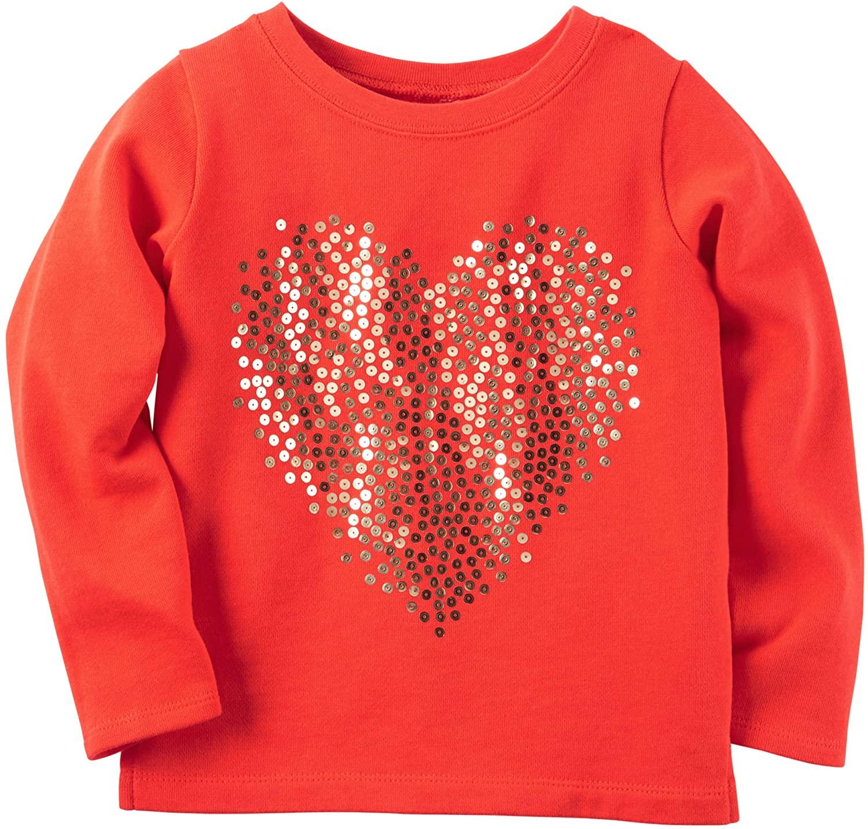 Carter's Girls' 2T-8 Sequin Heart Tee