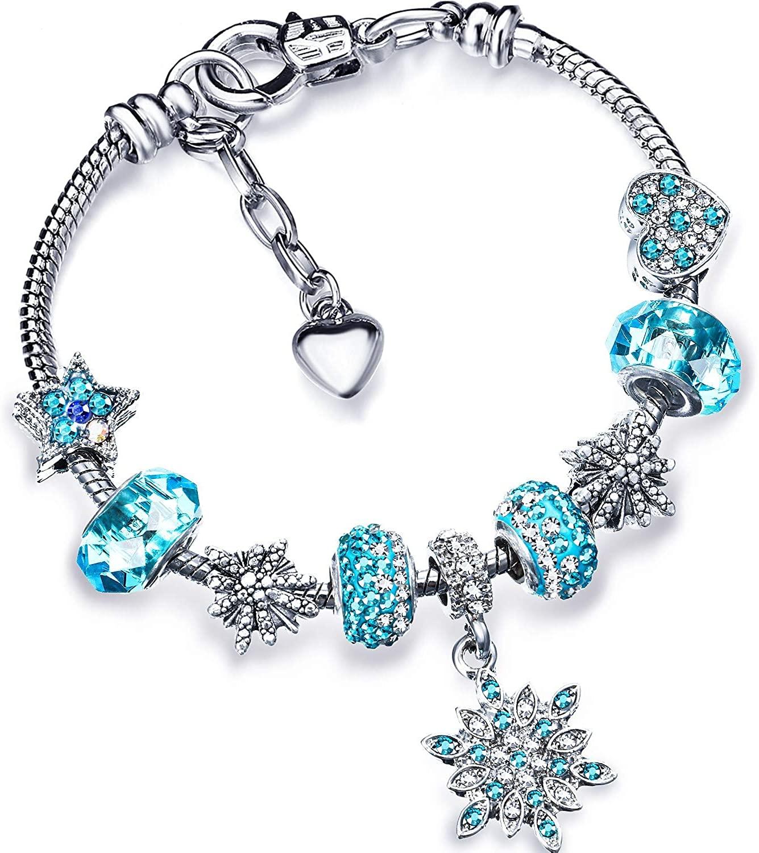 Christmas Snowflake Bracelet Snow Sky Blue Sparkly Bangle Crystal Charm Bracelet with Box Set for Girls Women Lady