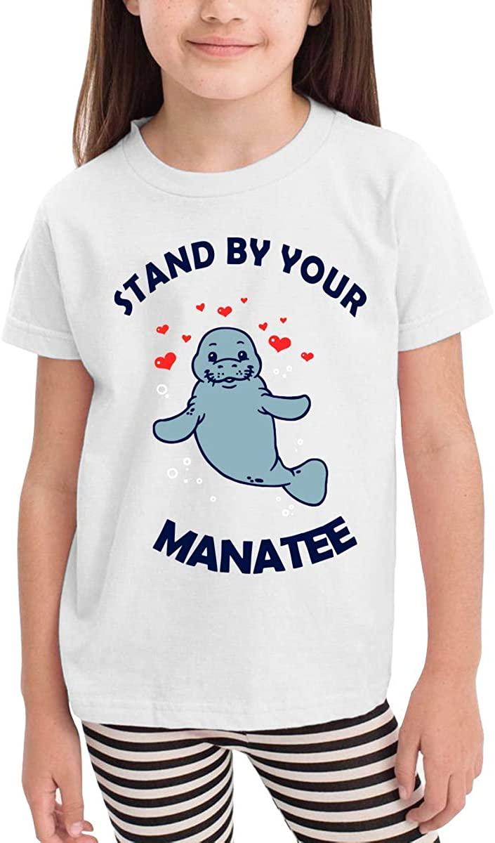 GongYe Children's T-Shirt Manatee Heart Kids Boys and Girls Short-Sleeved Shirt