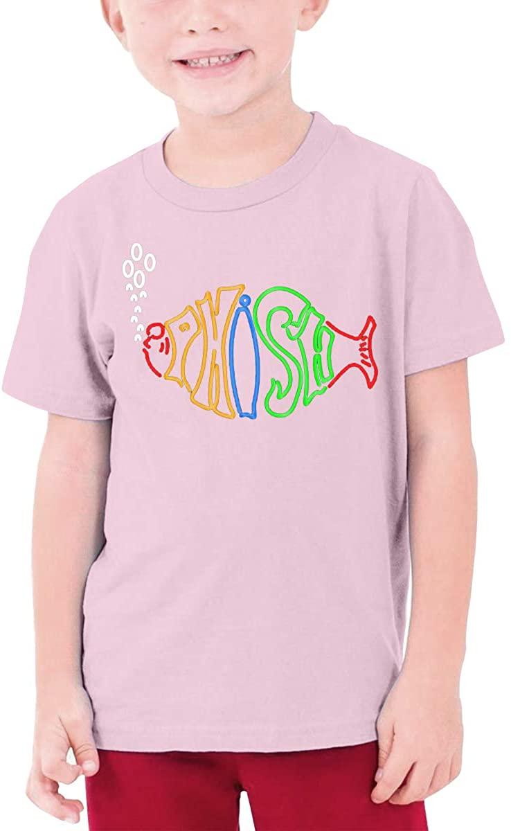 AP.Room Boys and Girls Teens Short Sleeve T-Shirt Phish Generous Eye-Catching Style Pink