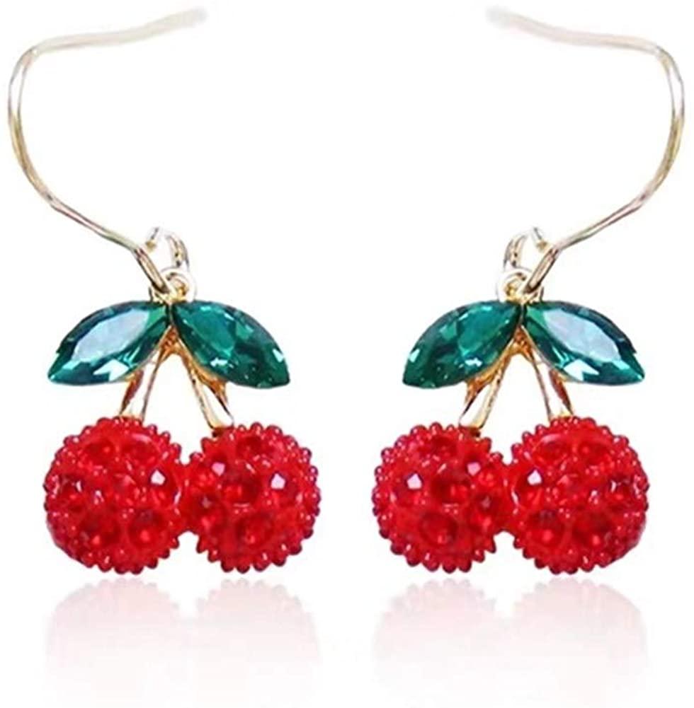 Women Girls Cute 3D Fruit Red Cherry Charm Tassel Earrings 18K Gold Plated Cubic Zirconia Red Cherry Dangle Drop Earrings