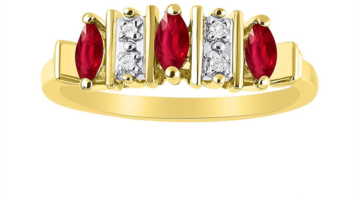 Simply Elegant Beautiful Red Ruby & Diamond Ring - July Birthstone