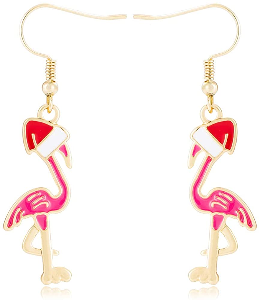 Alloy Color Enamel Flamingo Earring with Christmas Hat
