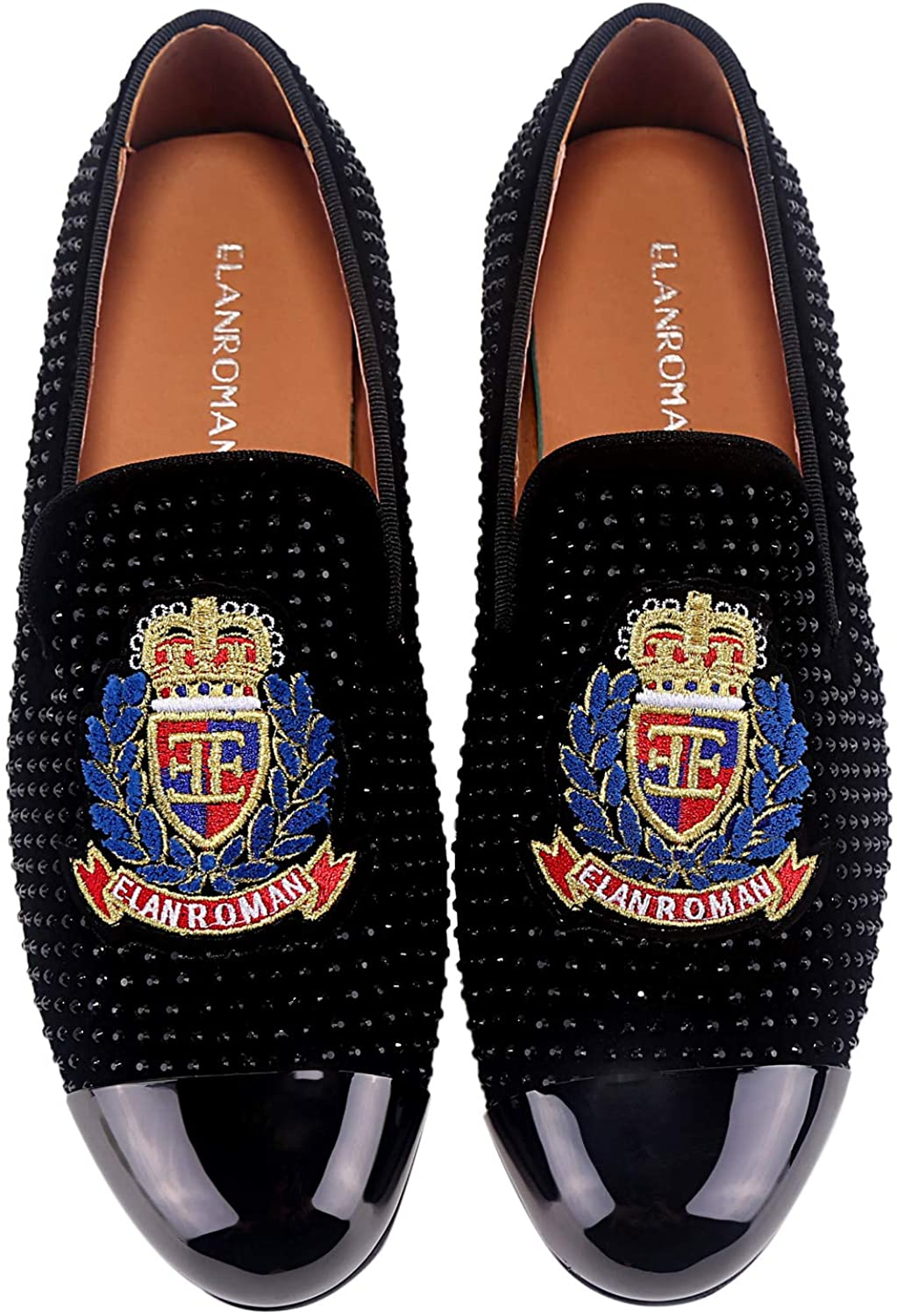 ELANROMAN Mens Dress Loafers Leather Wedding Shoes