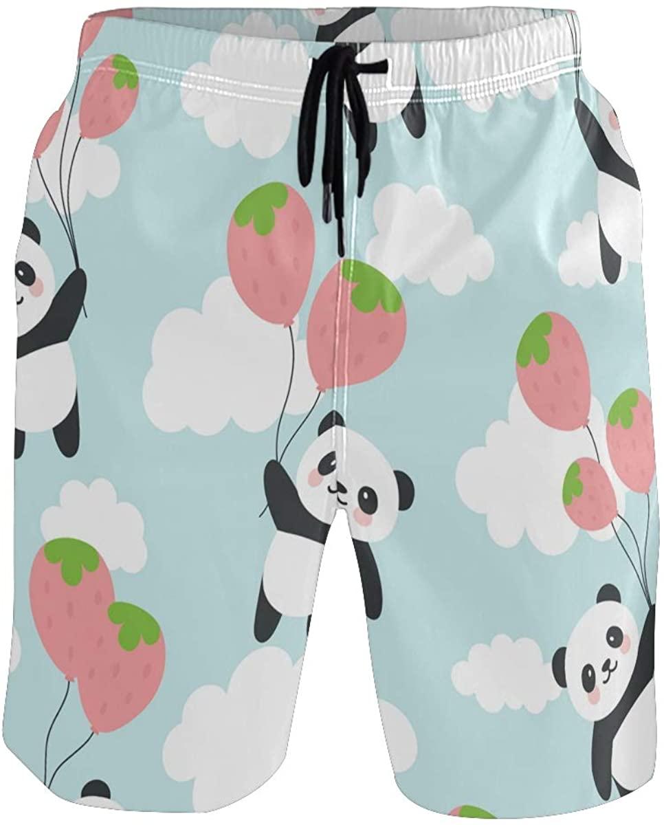 Mens Swim Trunks Watercolor Panda Animal Men Short with Pocket Beach Shorts