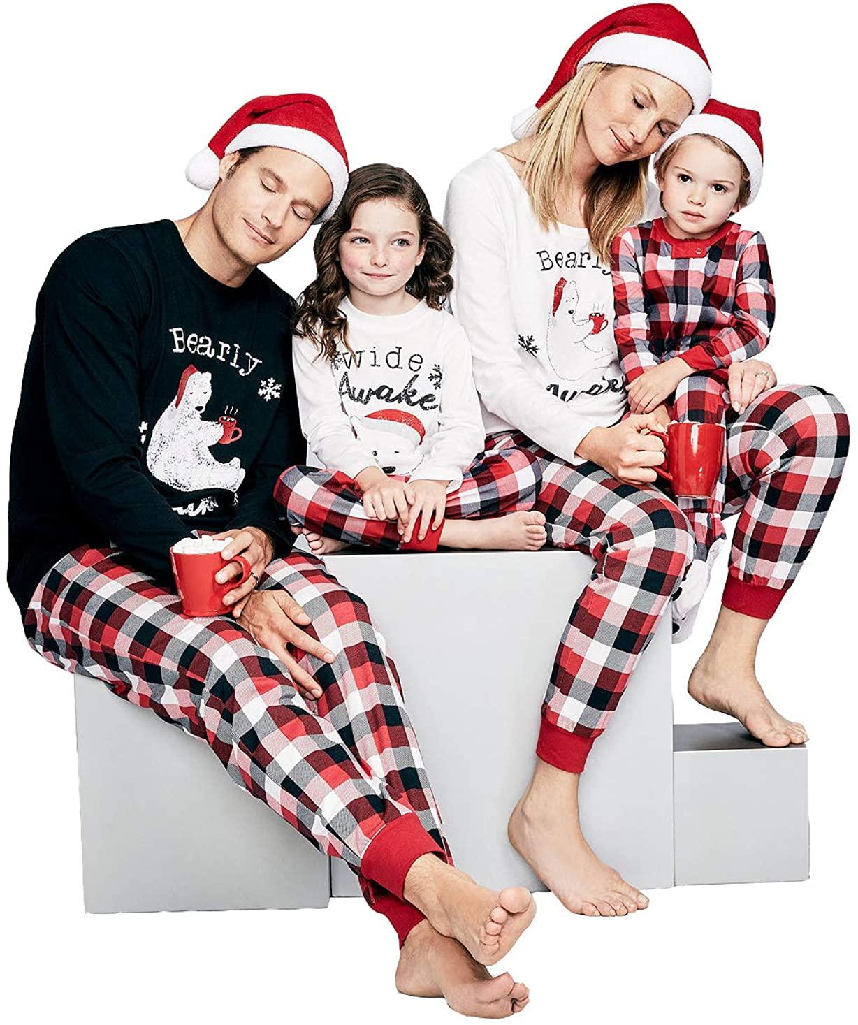 Papa Mama Kids Baby Bearly Awake Christmas Matching Family Pajamas Set