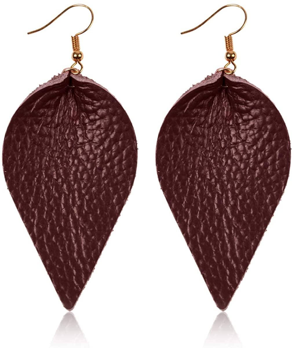 Bohemian Lightweight Genuine Real Leather Geometric Drop Statement Earrings - Petal Leaf Feather, Teardrop Dangles