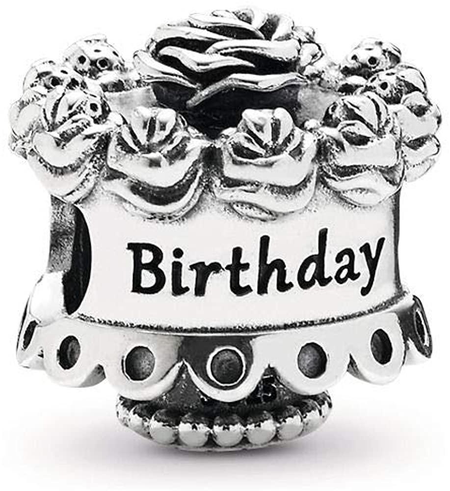 MiniJewelry Birthday Cake Charm for Bracelets Happy Birthday Cake Bday Celebration Roses Flowers Sterling Silver Charm