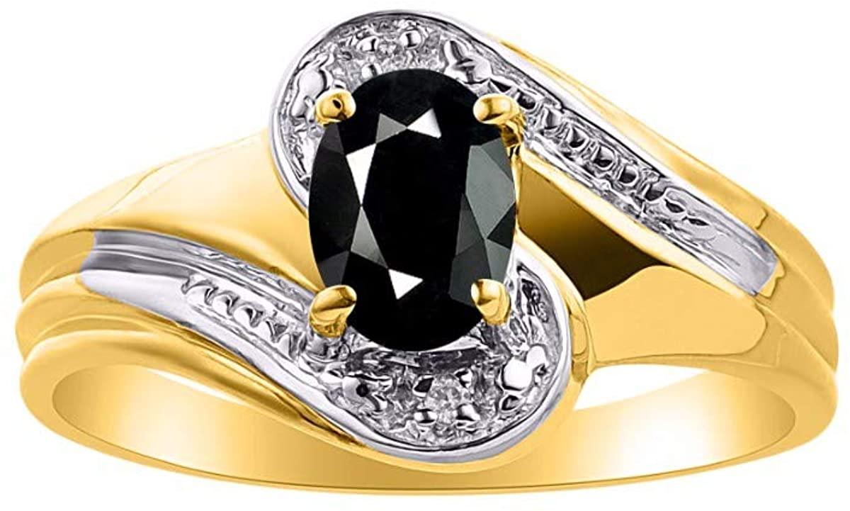 RYLOS Simply Elegant Beautiful Onyx & Diamond Ring - October Birthstone