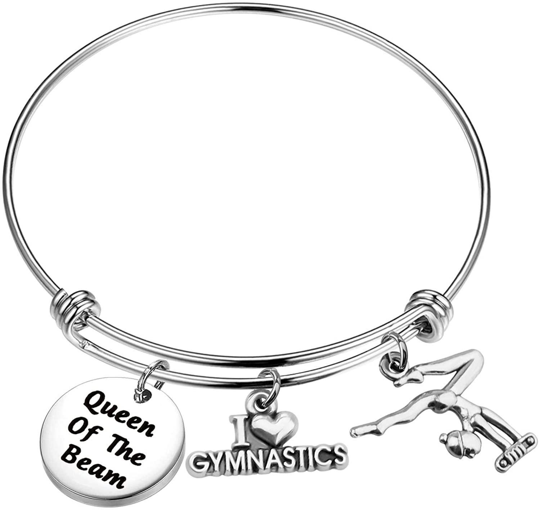 SEIRAA Gymnastics Girl Jewelry Gymnastics Charm Bracelets Queen of The Beam Sport Bangle with I Love Gymnastics Charm Gift for Gymnast