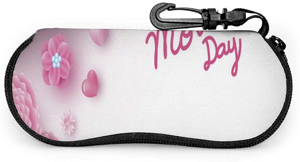 Happy Mother's Day Pink Gift Box Flower Sunglasses Case Soft Ultra Light Portable Zipper Eyeglass Case Versatile Neoprene Customized