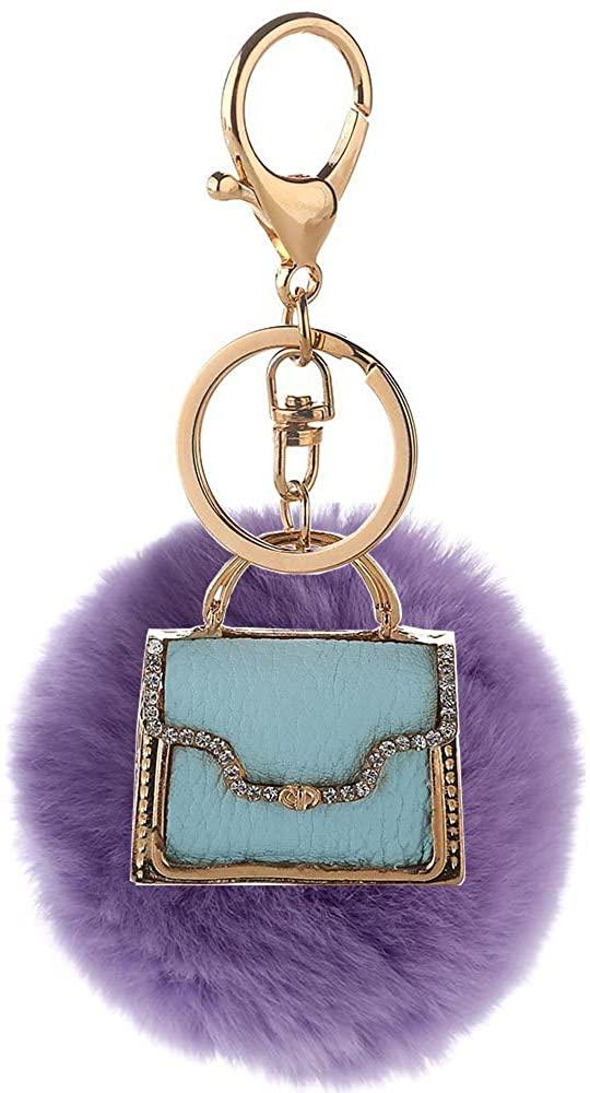 Mlotus Novelty Rabbit Fur Ball Charm Keychain Women Handbag Pompoms Car Key Ring