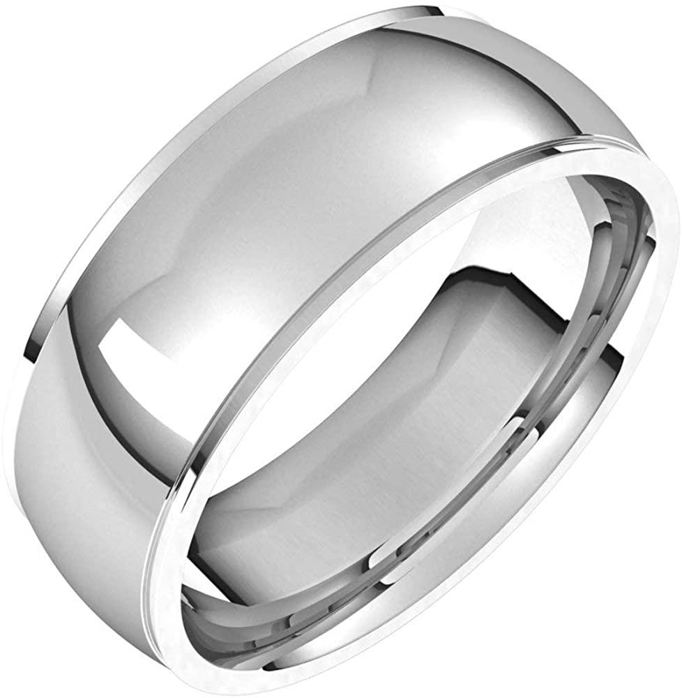 Solid Palladium 7mm Comfort Fit Edge Wedding Band Size 12