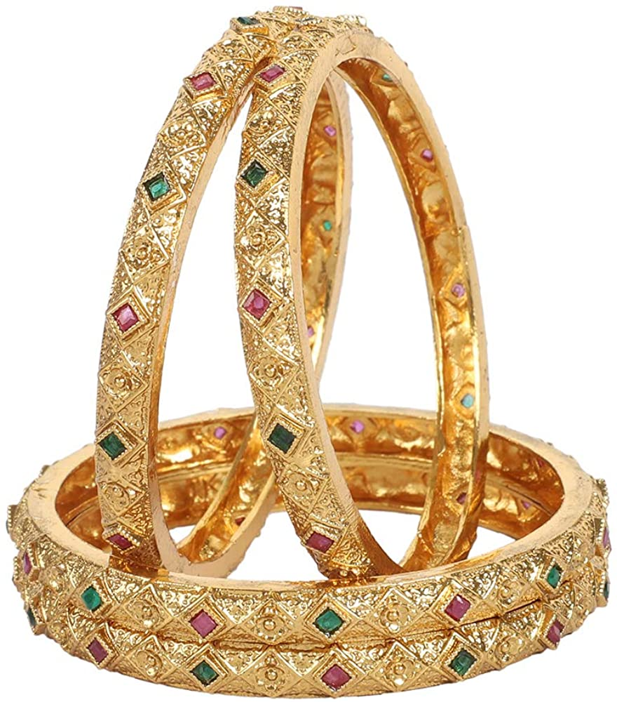 GLINT STORE Bollywood Indian Wedding Ethnic Bangle Set Traditional Party Jewelry for Women and Girls