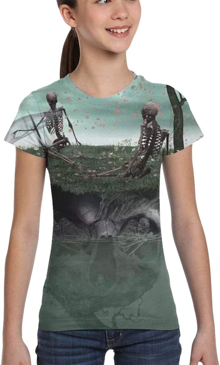 Hchengxianz Girls 3D Skull Lovers Skulls Island T-Shirt Short Sleeve Kids Top Tee