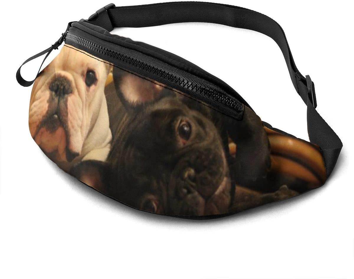 Two Bulldog French Fanny Pack For Men Women Waist Pack Bag With Headphone Jack And Zipper Pockets Adjustable Straps