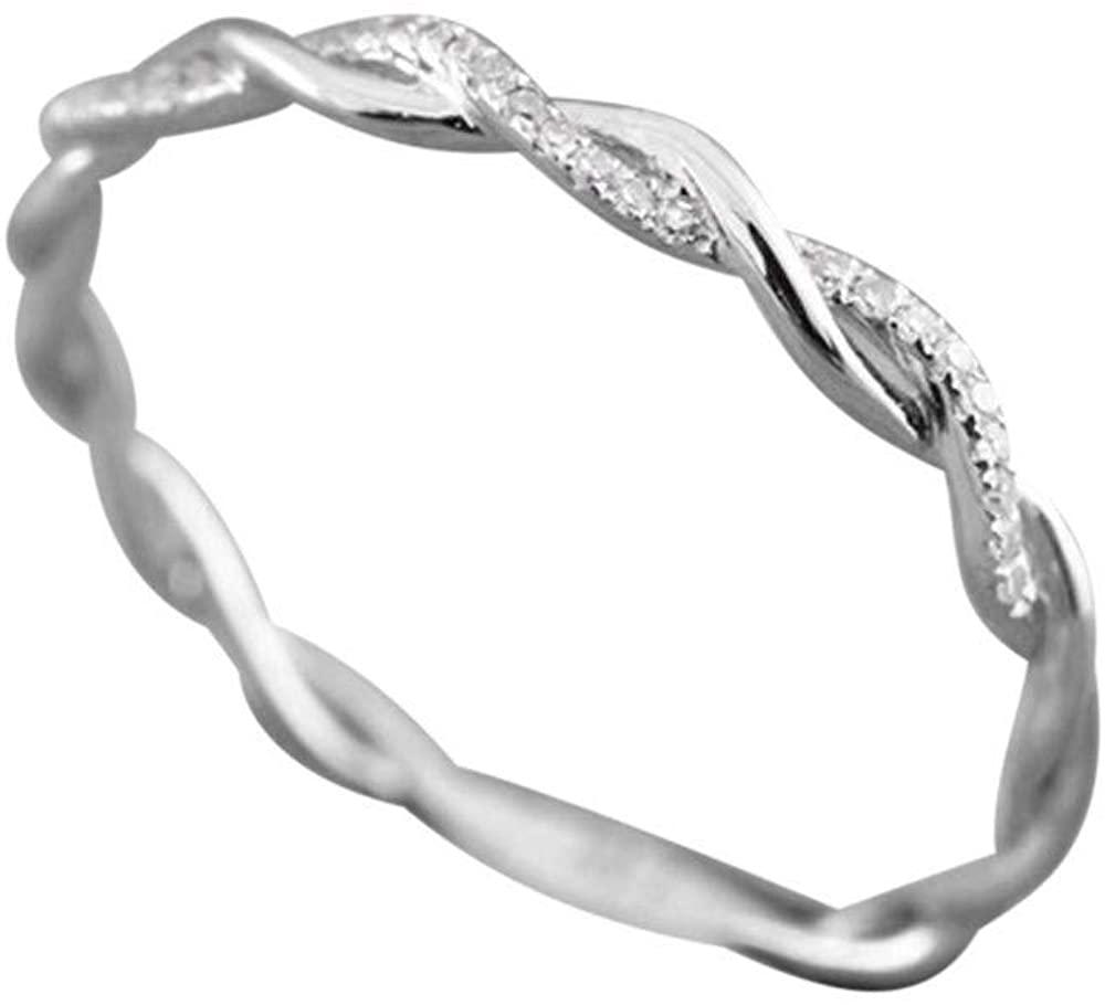 Alalaso Twisted Shape Diamond Engagement Ring, Stacking Matching Band Anniversary Ring