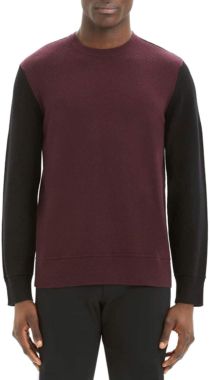 Theory Mens Hilles Standard Fit Crewneck Cashmere Sweater Large Chianti Multi