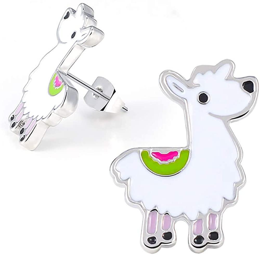 Lanqueen Cute Llama Alpaca Unicorn Horse Necklaces for Kids Girls, Llama Unicorn Stud Earrings for Women Birthday Gift for Animal Lover 17
