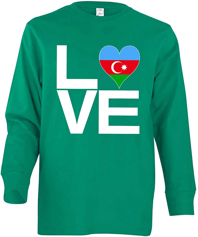 Tenacitee Girls Youth Love Block Azerbaijan Heart Long Sleeve T-Shirt