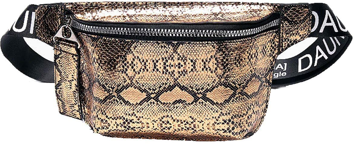 Waist Bag for Women Snakeskin Fanny Pack Stylish Quilted Belt Bag Purse PU Waist Pack for Travel (Fanny Packs for Gold)