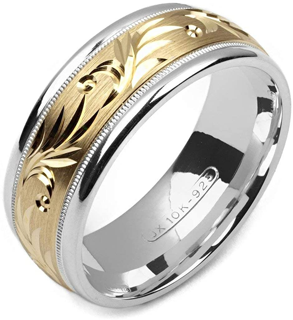 Alain Raphael Two Tone 10k Yellow Gold and Sterling Silver 8 Millimeters Wide Wedding Band Ring