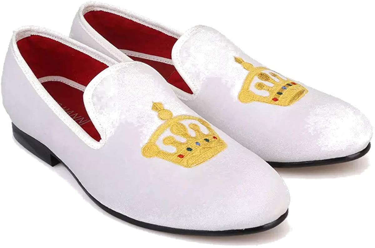FERUCCI Men White Custom-Made Velvet Slippers Loafers with Gold Crown
